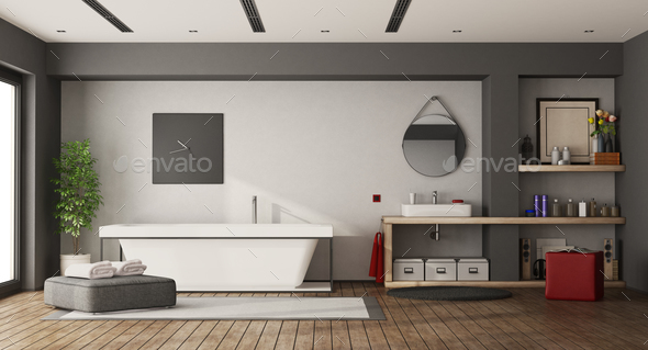 Large bathroom with bathtub and washbasin - Stock Photo - Images