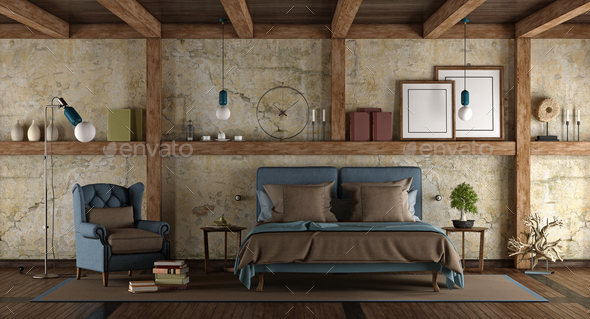 Master bedroom in rustic style - Stock Photo - Images