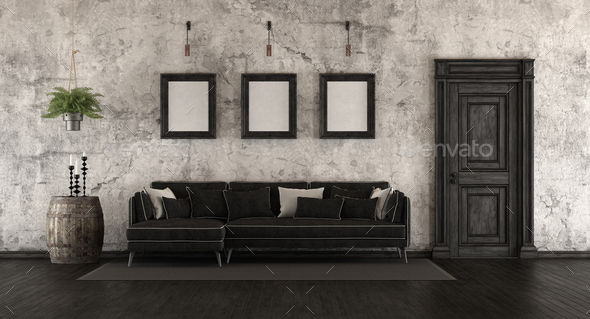 Black and white old room - Stock Photo - Images