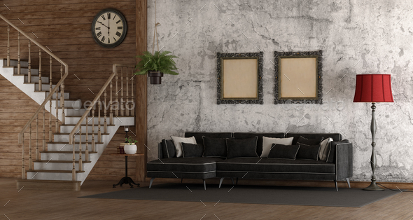 Retro room with stair and sofa - Stock Photo - Images
