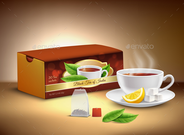 Black Tea Packaging Realistic Design - Food Objects