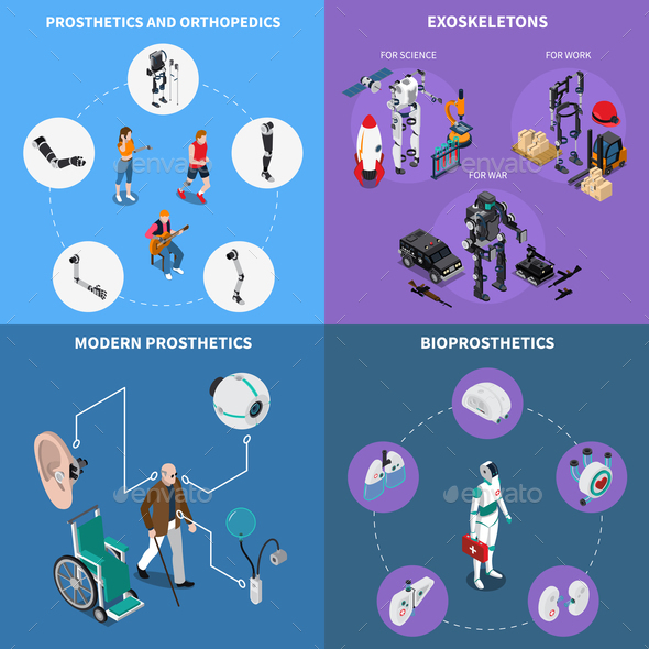 Exoskeleton Bionic Prosthetics Concept Icons Set - Computers Technology