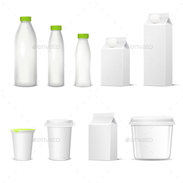 Dairy Packaging Realistic Set - Food Objects