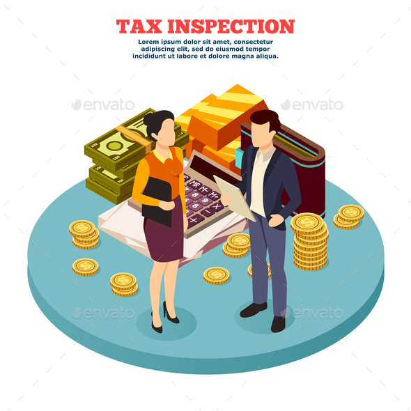 Tax Inspection Isometric Composition - Patterns Decorative