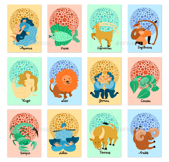 Zodiac Signs Vertical Cards - Miscellaneous Vectors
