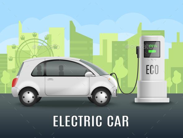 Electromobile Charging Realistic Background - Miscellaneous Vectors