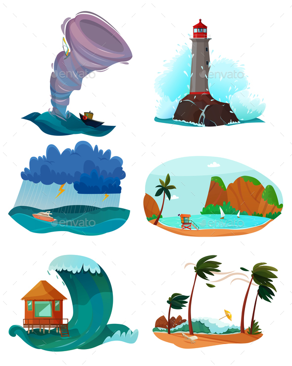 Seaside Landscapes Set - Seasons/Holidays Conceptual