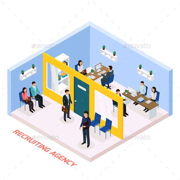 Employment Recruitment Isometric Composition - People Characters