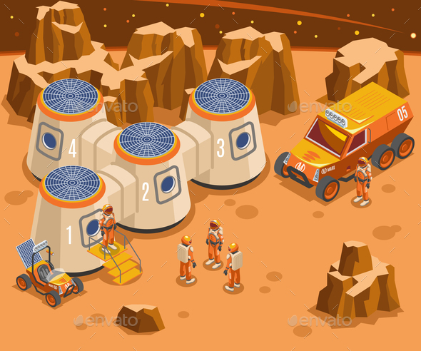 Base On Mars Isometric Illustration - Nature Conceptual