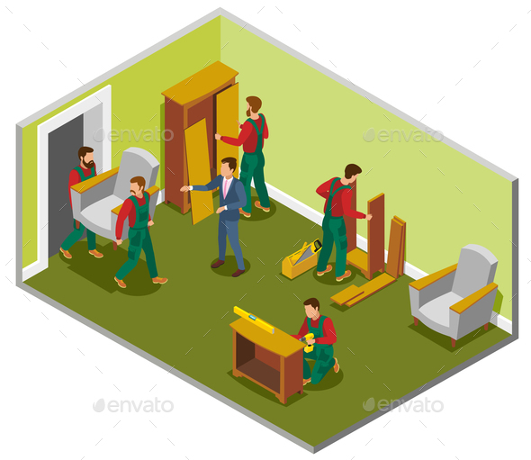 Furniture Delivery Isometric Composition - Services Commercial / Shopping