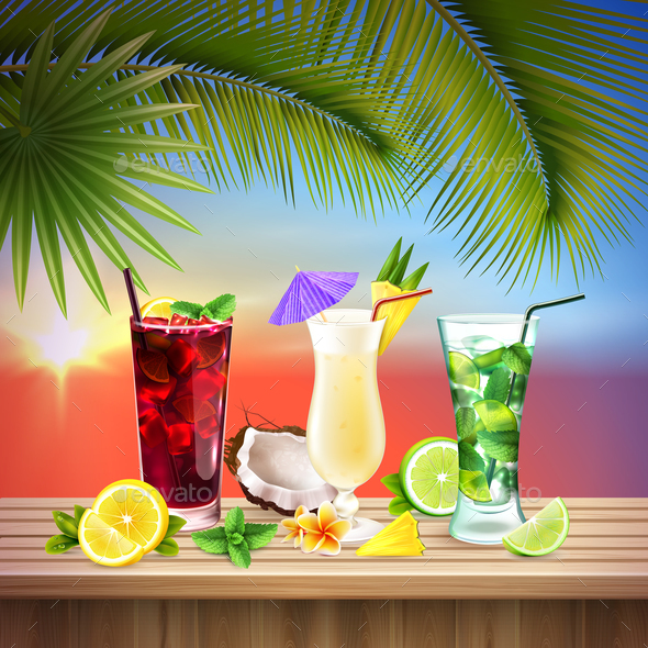 Cocktails Set Realistic Composition - Food Objects
