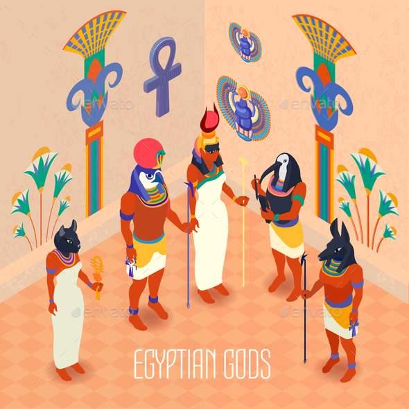 Isometric Egypt Illustration - Religion Conceptual