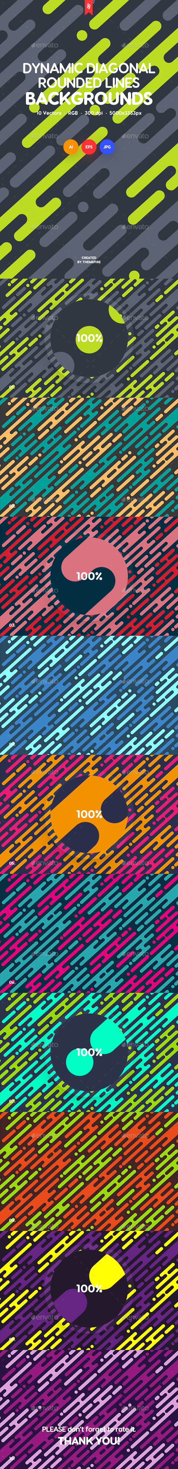 Dynamic Rounded Lines in Diagonal Rhythm Backgrounds - Backgrounds Graphics