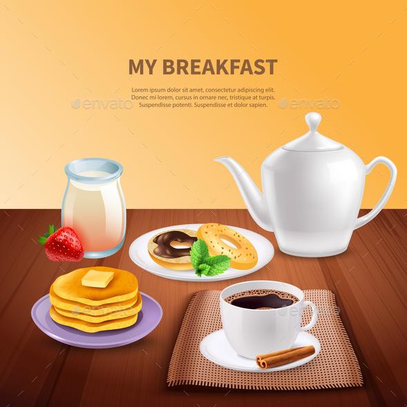 Breakfast Realistic Background - Food Objects