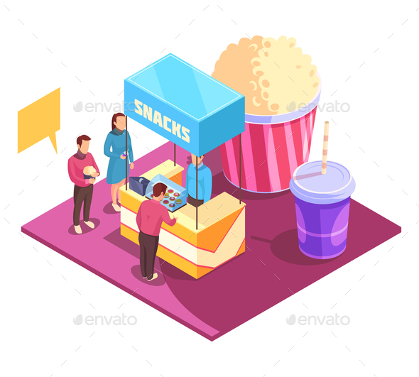 Snacks Cinema Isometric Composition - Food Objects