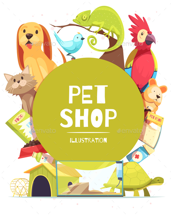 Pet Shop Frame Background - Animals Characters