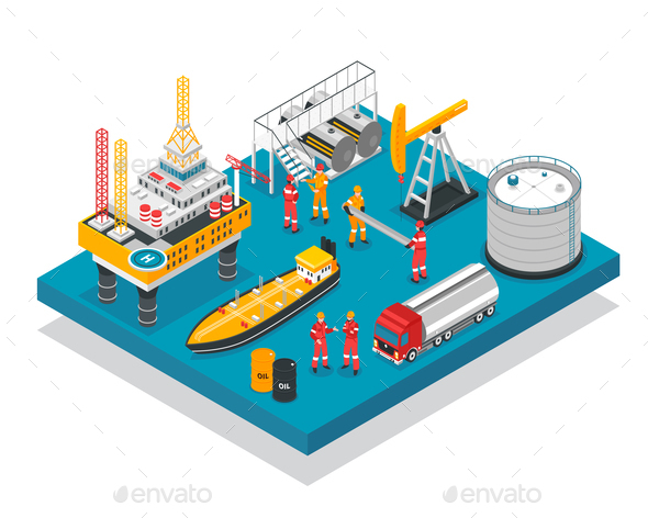 Oil Gas Platform Isometric - Industries Business