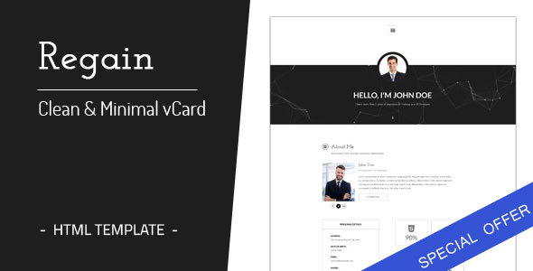 Regain Clean Minimal Personal Vcard Html Template By Onewmedia