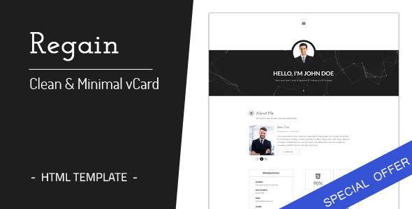 Regain - Clean & Minimal Personal vCard HTML Template - Virtual Business Card Personal