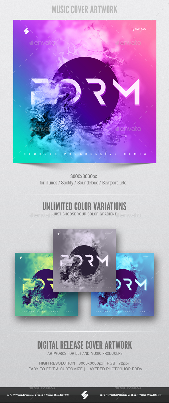 Form - Music Album Cover Artwork Template - Miscellaneous Social Media