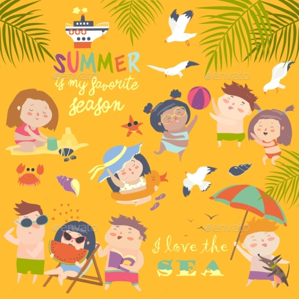 Summer Children Outdoor Activities - People Characters
