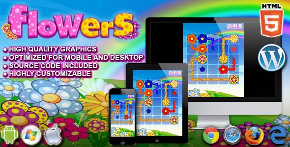 flowers html5 puzzle game by codethislab codecanyon
