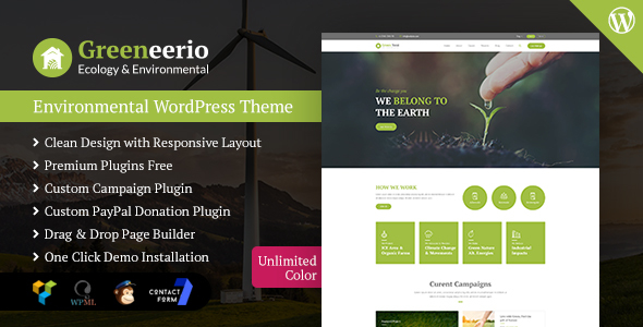 Greeneerio - WordPress Ecology & Environmental Theme - Environmental Nonprofit