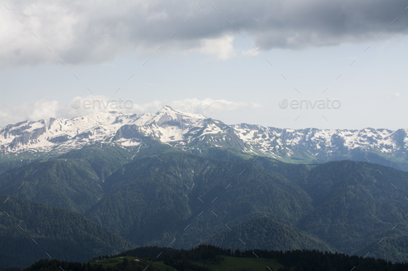 snow mountain view - Stock Photo - Images