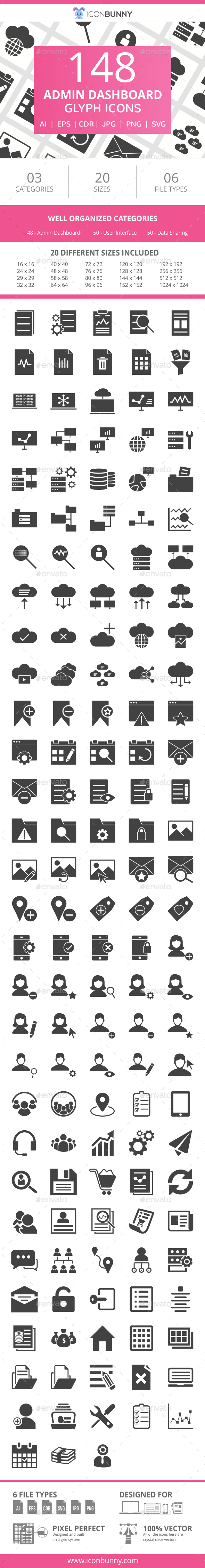 148 Admin Dashboard Glyph Icons - Icons