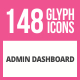 148 Admin Dashboard Glyph Icons - GraphicRiver Item for Sale