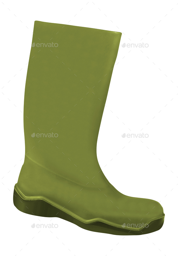 Green rubber boots on white background - Stock Photo - Images