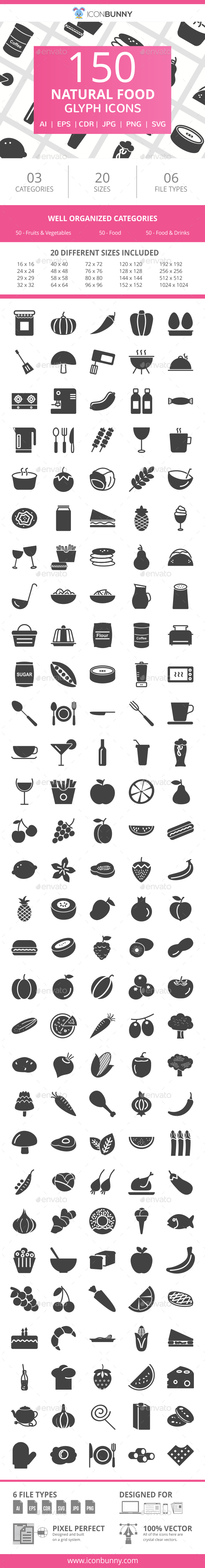 150 Natural Food Glyph Icons - Icons