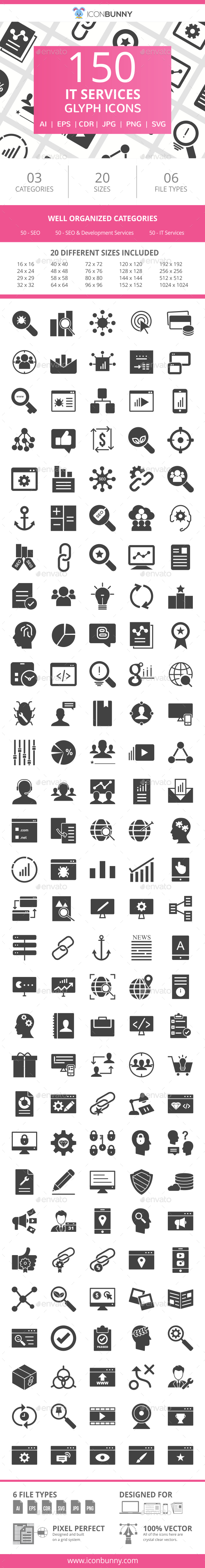 150 IT Services Glyph Icons - Icons