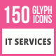 150 IT Services Glyph Icons - GraphicRiver Item for Sale