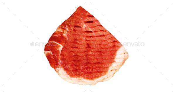 fresh raw beef steak isolated on white background - Stock Photo - Images