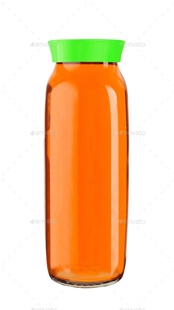 Juice bottle glass isolated on white - Stock Photo - Images