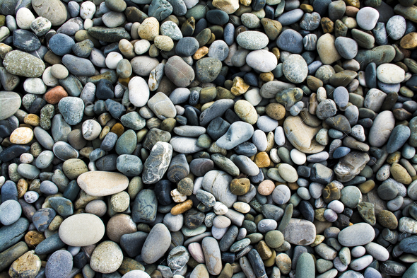 Sea gravel pebbles background - Stock Photo - Images