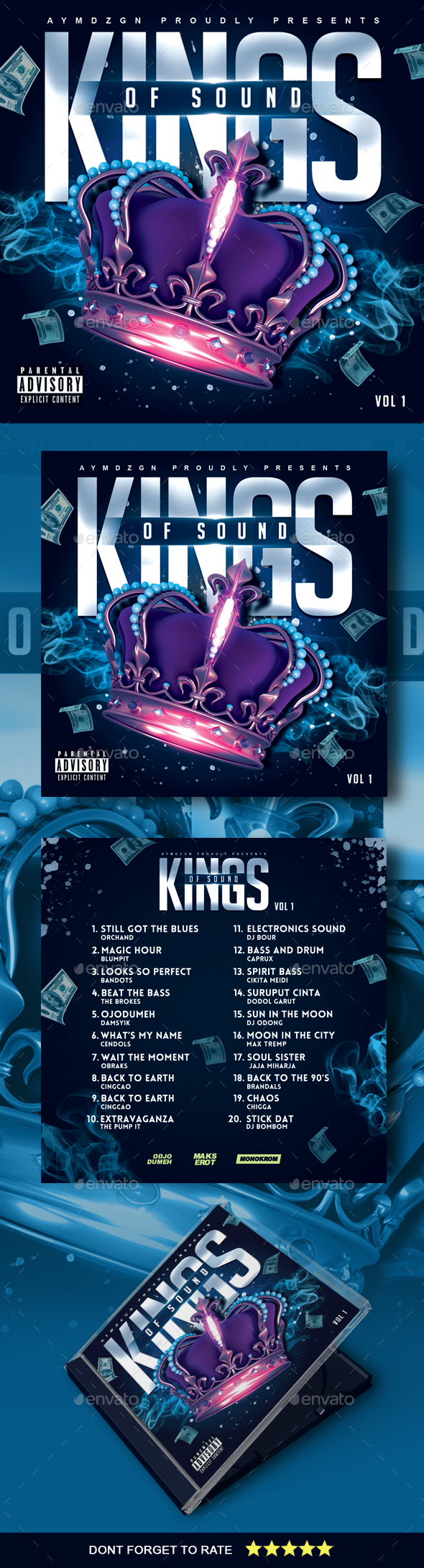 Kings of Sound Mixtape Cover - CD & DVD Artwork Print Templates