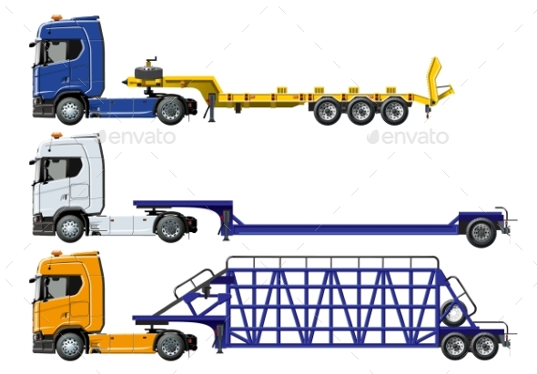 Vector Semi Trucks Set Isolated on White - Man-made Objects Objects