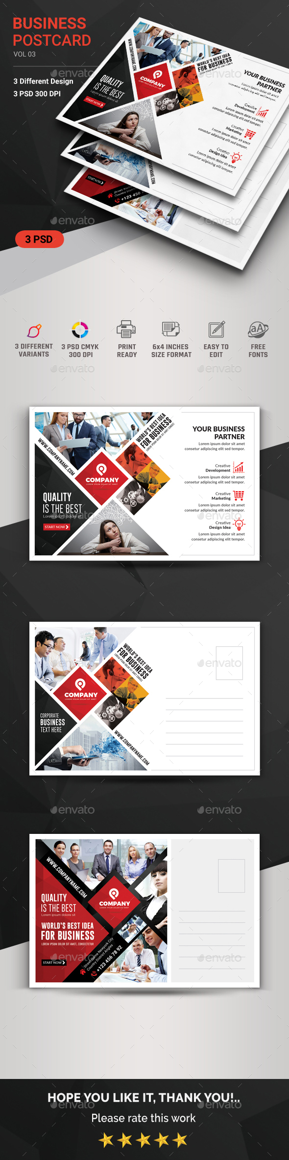 Corporate Postcard Graphics, Designs & Templates