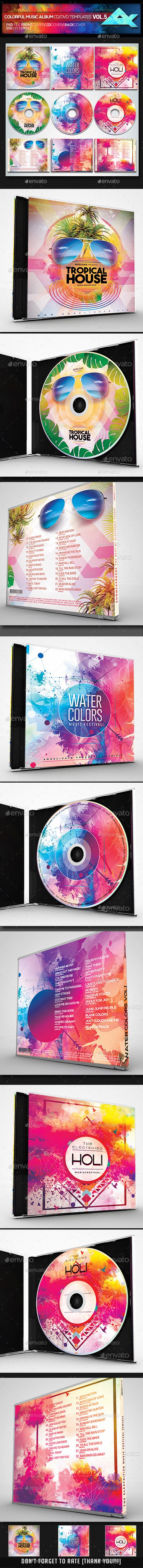Colorful CD/DVD Album Covers Bundle Vol. 5 - CD & DVD Artwork Print Templates