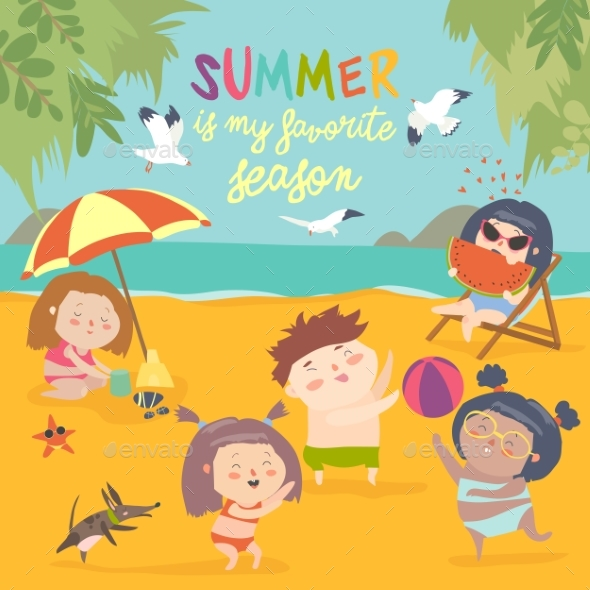 Summer Childs Outdoor Activities. Beach Holiday - People Characters