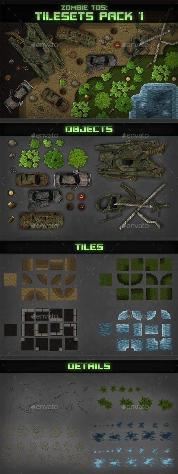 Top-Down Shooter: Tileset - Tilesets Game Assets