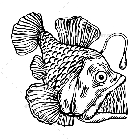 Deepwater Fish with Lighter Engraving Vector - Animals Characters