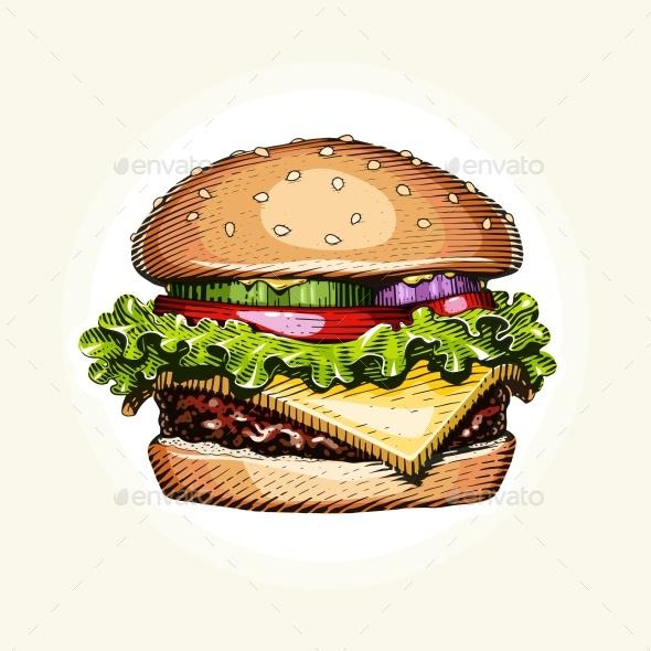 Hamburger. Fast food. - Food Objects