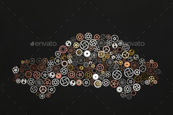 Car shape made out of cogwheels - Stock Photo - Images
