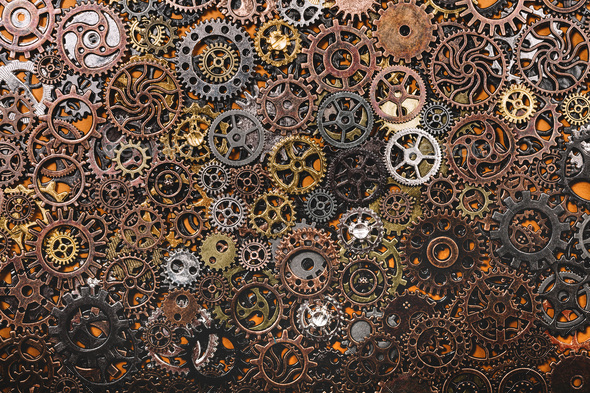 Layers of different cogwheels. - Stock Photo - Images