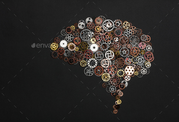 Brain image made out of little cogwheels. - Stock Photo - Images