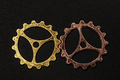 Two metal cogwheels interlocking. - PhotoDune Item for Sale