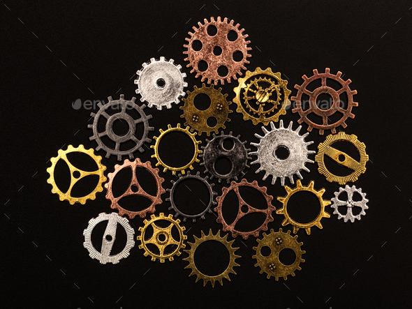 Group of different colorful cogwheels - Stock Photo - Images
